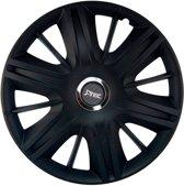 4-Delige J-Tec Wieldoppenset Maximus 15-inch zwart + chroom ring