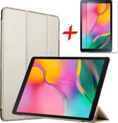 Samsung Galaxy Tab A 10.1 (2019) Hoes + Screenprotector - Smart Book Case Tri-Fold Hoesje - iCall - Goud
