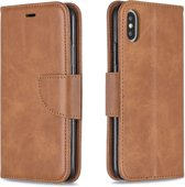 Let op type!! Retro Lambskin Texture Pure Color Horizontal Flip PU Leather Case for iPhone X / XS  with Holder & Card Slots & Wallet & Lanyard(Brown)