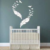 Muursticker veren met zwerm vogels - deur stikker - wandversiering - wanddecoratie - Wit - 57 x 58 cm