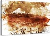 Canvas schilderij Bergen | Bruin, Wit | 140x90cm 1Luik