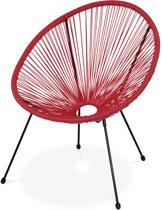 ACAPULCO stoel ei-vormig Frambozenrood- Stoel 4 poten retro design, plastic koorden, binnen/buiten