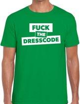 Fuck the dresscode tekst t-shirt groen heren - heren shirt Fuck the dresscode S