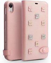 Leren wallet case - Iphone XR Hoesje - Roze - Qialino
