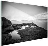 FotoCadeau.nl - Natuurfoto zwart-wit Glas 60x40 cm - Foto print op Glas (Plexiglas wanddecoratie)