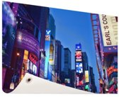 Times Square by night Tuinposter 200x100 cm - Tuindoek / Buitencanvas / Schilderijen voor buiten (tuin decoratie) XXL / Groot formaat!