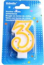 Amscan Verjaardagskaarsje Cijfer 3 Geel
