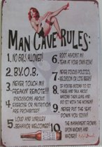 MAN GROT - MAN CAVE  PIN UP MANCAVE - METALEN - WANDDECORATIE - RECLAMEBORD - MUURPLAAT - VINTAGE  - RETRO - WANDBORD - TEKST - DECORATIEBORD - NOSTALGIE  - ART  30x20 cm nr 640
