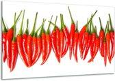 Schilderij | Canvas Schilderij Paprika, Keuken | Wit, Rood, Groen | 120x70cm 1Luik | Foto print op Canvas