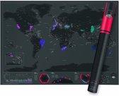 Wereldkaart Kras Luxe Editie   Capital edition / Hoofdsteden editie   World Scratch Map Deluxe Version  Kraskaart Scratchmap   Wereldkraskaart Groot Poster 82,5 x 59,5 cm Zwart / Black Edition   Gadgetartikel Cadeauartikel