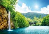 Fotobehang Waterfall Lake | M - 104cm x 70.5cm | 130g/m2 Vlies