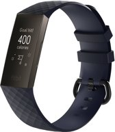 KELERINO. Siliconen bandje - Fitbit Charge 3 - Donker Blauw - Small