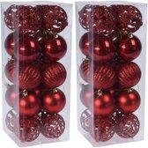 40x Rode kunststof kerstballen 6 cm - Glans/mat/glitter - Onbreekbare kerstballen plastic - rode Kerstversieringen
