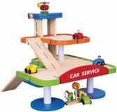 Viga Toys - Parkeergarage met Etage - Inclusief 4 Auto's en Helikopter