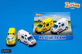 2-Play Die Cast pull back Rescue Team set