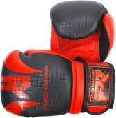 Punch Round Bokshandschoenen SLAM Mat Carbon Zwart Rood 8 OZ Bokshandschoenen