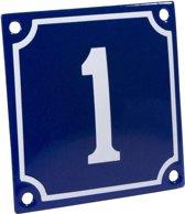 Emaille huisnummer blauw/wit nr. 1 10x10cm