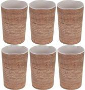 6x Melamine drinkbekers/mokken houtprint 11 cm - Campingservies/picknickservies
