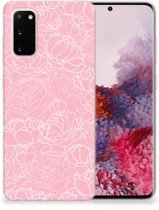 Samsung Galaxy S20 Siliconen Hoesje White Flowers