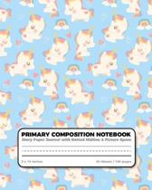 Primary Composition Notebook Story Paper Journal dotted midline and picture space: Grades K-2 School Exercise Book - 100 Story Pages - Pretty Unicorn