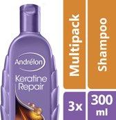 Andrélon Keratine Repair - 300 ml - Shampoo - 3 stuks - Voordeelverpakking
