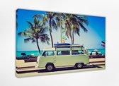 Camper 80x50 cm, Canvas schilderij uitgerekt op het frame, 100% katoen, Wanddecoratie