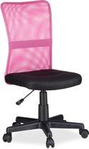 relaxdays bureaustoel voor kinderen - computerstoel ergonomisch - 90kg - directiestoel roze