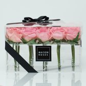 Flowerbox 25 roze rozen - Transparant acryl