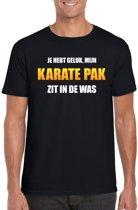 Mijn karate pak zit in de was fun t-shirt heren zwart - Carnaval verkleedkleding XL