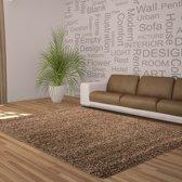 Hoogpolig shaggy vloerkleed 160x230cm mocca - 5 cm poolhoogte