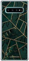 Samsung Galaxy S10 Plus siliconen hoesje - Abstract groen