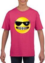 Smiley/ emoticon t-shirt stoer roze kinderen L (146-152)