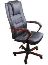 vidaXL - Bureaustoel Bureaustoel Directie S210 zwart leer met hout