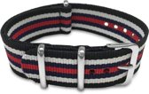 Max Horlogeband 5 NTS039 Nato Horlogeband - 20 mm - Zwart / Wit / Donkerblauw / Rood / Zilverkleurig