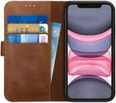 Rosso Deluxe Apple iPhone 11 Hoesje Echt Leer Book Case Bruin