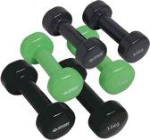 Schildkröt Fitness Dumbbells - Koffer Met 3 Paar Dumbbells - Gietijzer - Groen/Zwart/Antraciet