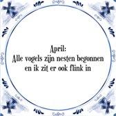 Tegeltje met Spreuk (Tegeltjeswijsheid): April: Alle vogels zijn nesten begonnen en ik zit er ook flink in + Kado verpakking & Plakhanger
