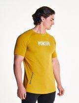 Pursue Fitness Fitted Shirt - Bodybuilding Shirt Mannen Geel