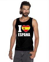 Zwart I love Spanje supporter singlet shirt/ tanktop heren - Spaans shirt heren XL