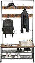 XL Garderoberek met Kapstok en Schoenenrek – Metaal / Hout – Bruin / Zwart