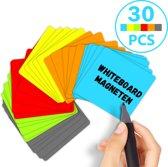 Scrum Whiteboard Magneten - 30 stuks - Agile Werken - Post Its Herschrijfbaar - 7,5 X 7,5 cm - 6 kleuren