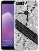 Huawei Y7 2018 Hoesje Marble Wood