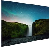 IJslandse waterval bij nacht Aluminium 90x60 cm - Foto print op Aluminium (metaal wanddecoratie)