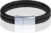 Memphis dubbele leren armband Zwart Zilver-19cm