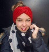 Hoofdband Winter Knot Rood Gebreide haarband Warme hoofdband haarband