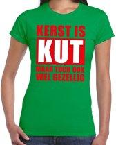 Foute Kerst t-shirt Kerst is kut maar toch ook wel gezellig groen voor dames S