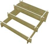 Plantenbak drielaags 90x90x35 cm FSC geïmpregneerd hout (incl. Werkhandschoenen)