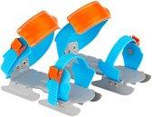 Nijdam Junior Glij-ijzers Verstelbaar - Print - Blauw/Oranje