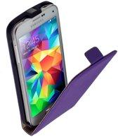LELYCASE Lederen Flip Case Cover Hoesje Samsung Galaxy S5 Mini Lila