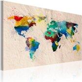 Schilderij - De wereld van kleuren, Multi-gekleurd, 2 Maten, 1luik